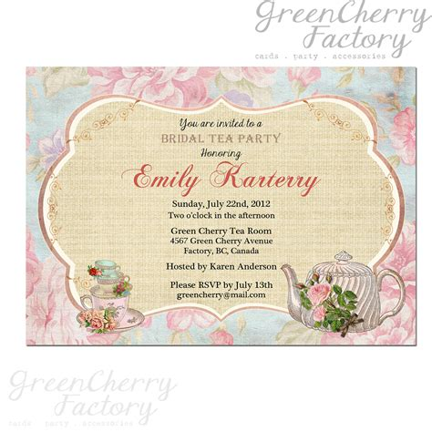 tea invitation templates items similar to floral tea invitation bridal tea