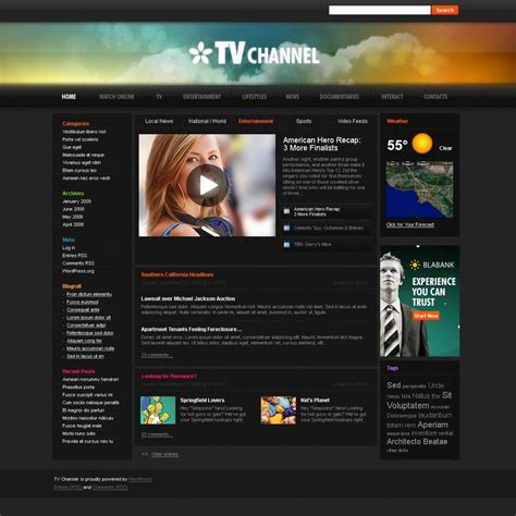Tv Channel Wordpress Theme Web Design Templates Website Templates Download Tv Channel Web Tv Template
