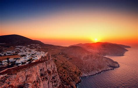 wallpaper folegandros sunset nature