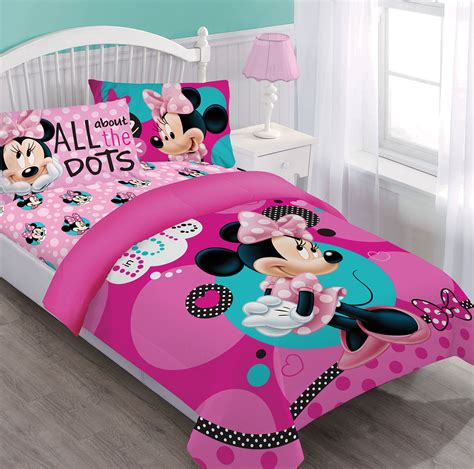 minnie bed set disney minnie dreaming in dots comforter set w fitted sheet