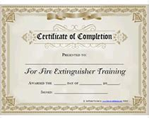 free printable fire extinguisher training certificate