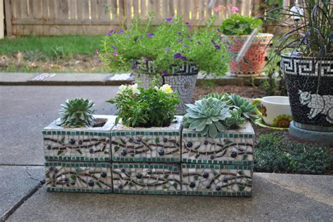 Block Planters by Custom Designed Mosaic Cinder Block Herb Garden Planter Olive