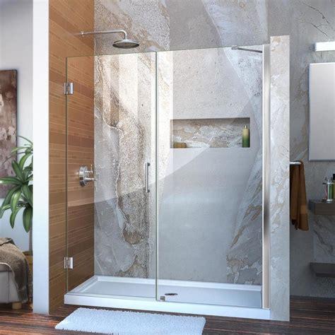 60 Frameless Shower Door Shop Dreamline Unidoor 59 In To 60 In Frameless Chrome Hinged Shower Door At Lowes