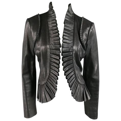 Id Leather Jacket Black burch size 8 black pleated ruffle trim leather jacket