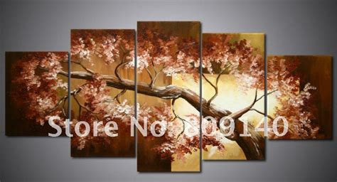 painting canvas brown tree landscape high quality