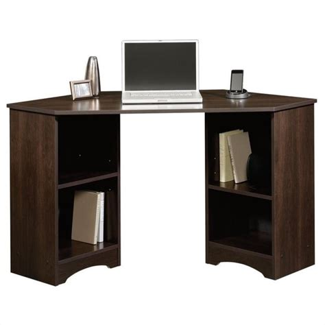 sauder beginnings corner computer desk cinnamon cherry corner desk in cinnamon cherry 413073