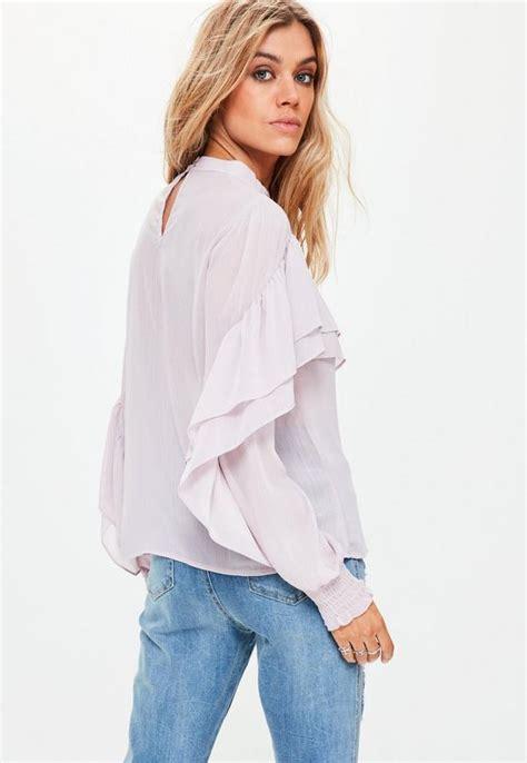 Kirana Frill Top Blouse 1 purple chiffon frill blouse missguided