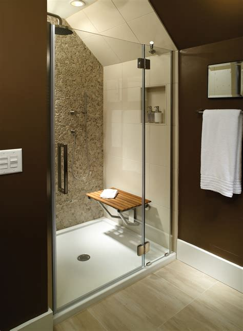 Bathroom Shower Bases Sitting Area Bathroom Mti Low Profile Threshold Shower Base And Teak Shower Seat That