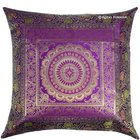 turquoise 17 quot cushion pillow cover peacock silk brocade 17 quot purple floral circle indian silk brocade throw pillow