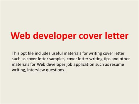 Email Cover Letter For Web Developer Web Developer Cover Letter
