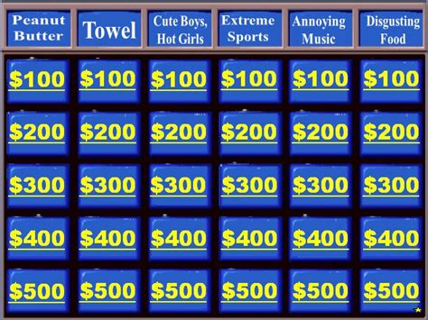 jeopardy template powerpoint 2010 with sound category powerpoint toys
