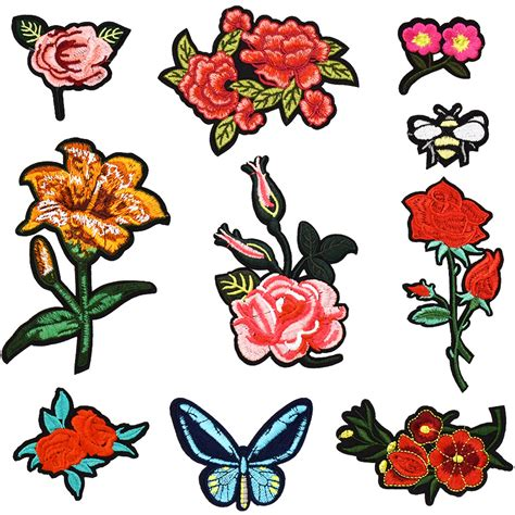10pcs set flower series mix iron on patches for clothing