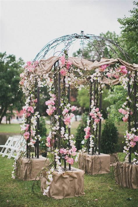 pink flower  burlap gazebo ceremony decoration image