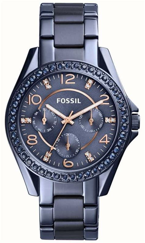 fossil womens blue stainless steel es4294