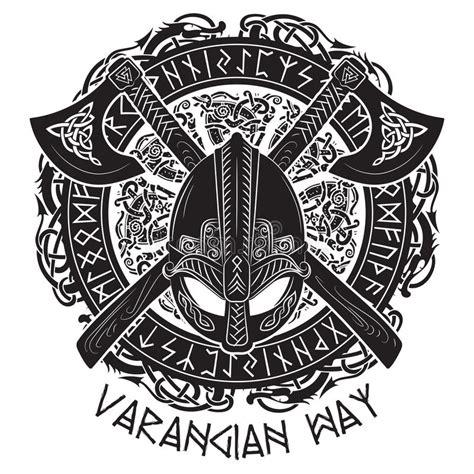 viking pattern vector viking helmet crossed viking axes and in a wreath of