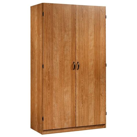 Wardrobe Storage Cabinet Sauder Beginnings Collection Particle Board Wardrobe Storage Cabinet In Highland Oak 413329