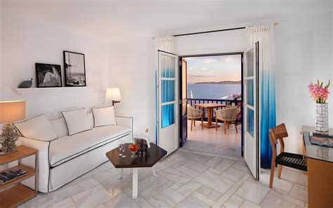 sea view suite with living room mykonos grand hotel resort