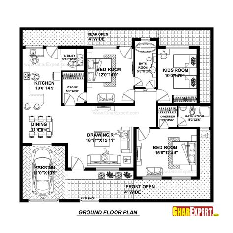 home design in 50 yard house plan for 50 feet by 45 feet plot plot size 250 square yards gharexpert com