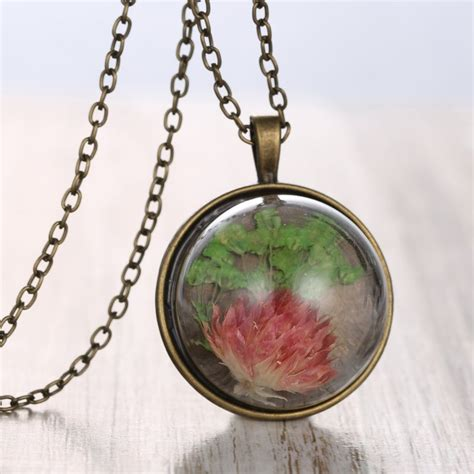 Handmade Glass Pendants - retro handmade glass dried flower grass inside