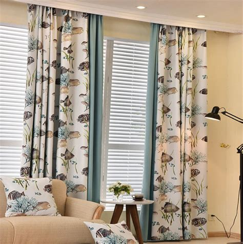 room blackout curtains 2016 new modern fish curtains for living room blackout