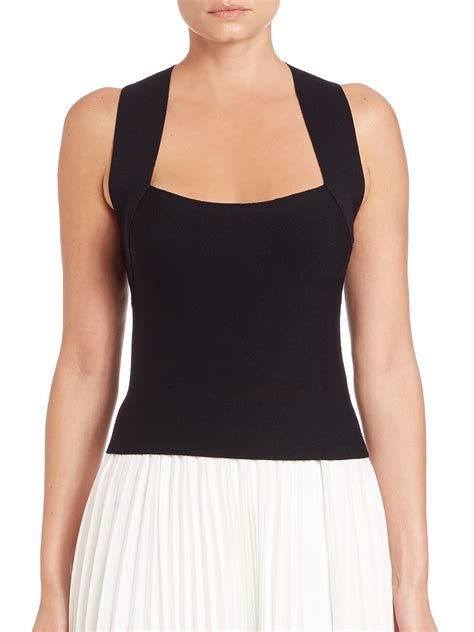 Neck Top lyst crisscross back square neck top in black
