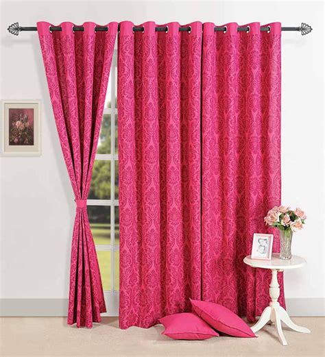pink long curtains swayam long door curtain with eyelet pink header by