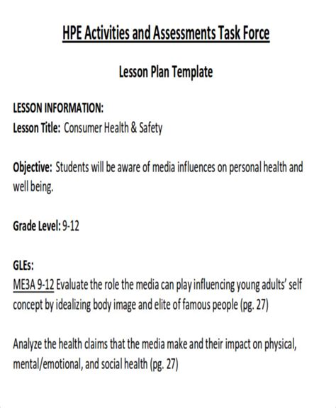 health lesson plan template health lesson plan unit plan and lesson plan templates