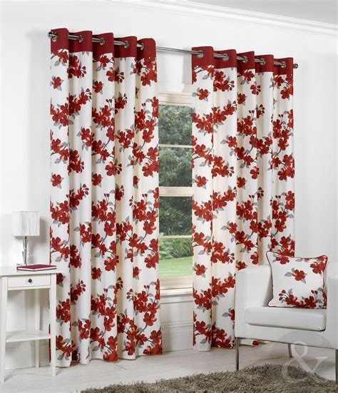 poppy curtains poppy printed curtains ready made ring top lined floral eyelet curtain pair ebay