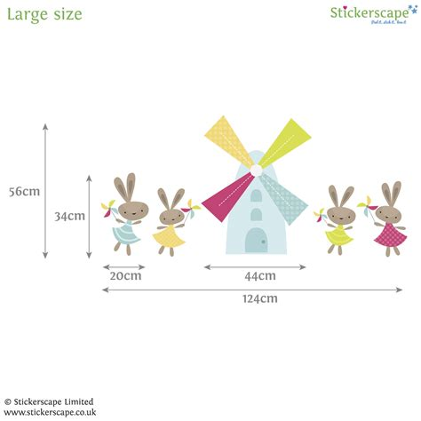 rabbit wall stickers rabbits and windmills wall sticker stickerscape uk