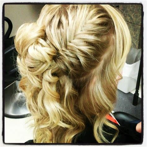 lace fishtail into a fishtail bun mimiamassari hair curly fishtail braid hair and nails pinterest