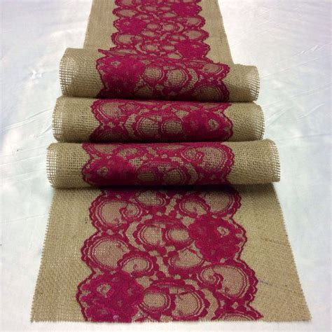 burgundy lace table runner 8ft burlap lace table runner with burgundy wine lace 10