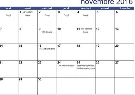 Calendrier Du Mois De Novembre Calendrier Du Mois De Novembre 2016 Apsmart