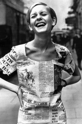 In The 60s Essay by Twiggy Wearing A Newspaper Dress 30 June 1967 At Science And Society Picture Library