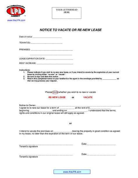 Letter Tenant Regarding Lease Renewal Notice To Renew Lease Or Vacate Hashdoc
