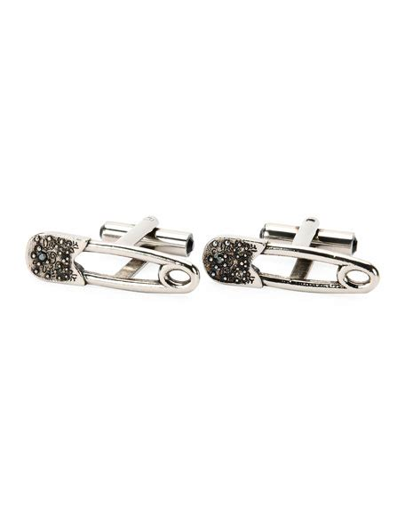 Mcqueen Safety Pin Purse by Mcqueen Gunmetal Skull Cuff Links