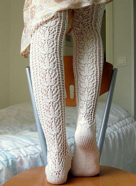 pattern knit tights ravelry tessas lace stockings chaussettes pinterest
