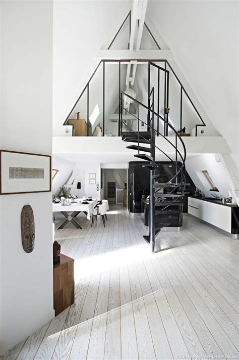 attic loft attic transformed into tiny modern loft in paris