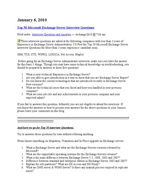 best biography interview questions top 50 microsoft exchange server interview questions