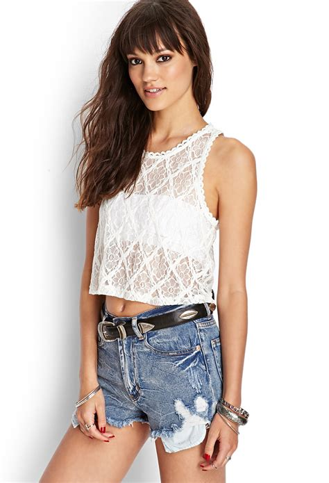 Tangtop Wanita Forever 21 forever 21 floral lace tank top in white lyst