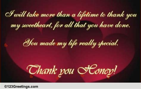 Thank You Honey! Free For Your Love eCards, Greeting Cards
