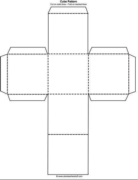 Paper Cube Template cube outline free printable teaching free printables
