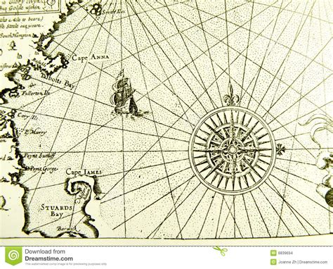 antique sea map or chart stock images image 6839694