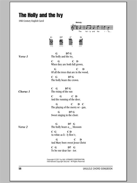 pattern in the ivy lyrics the holly and the ivy sheet music by traditional ukulele