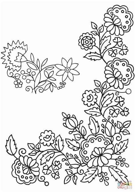 tender flowers ornament coloring page  printable