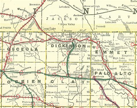 dickinson map maps and places iagenweb dickinson county iowa