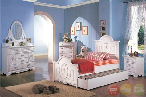 white wood girls twin bed kids  piece bedroom furniture set ebay