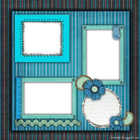 free printable scrapbook layouts blue and stripes layout