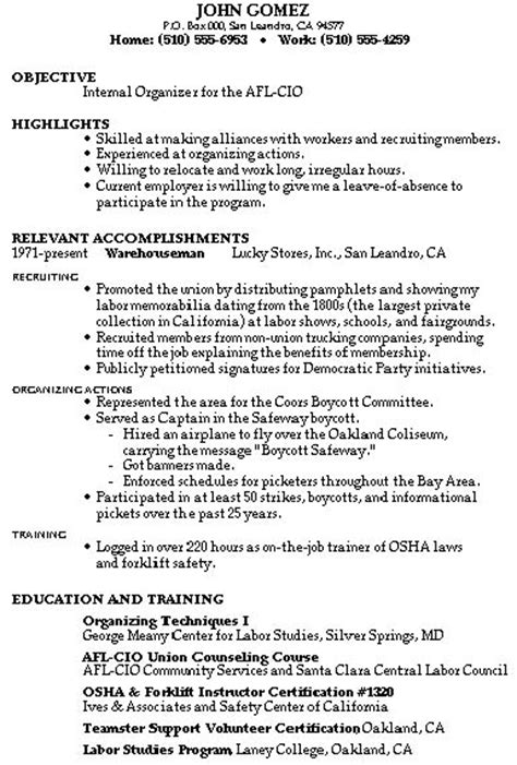 Resume Exles Union Workers Resume Sles Mixed Bag Damn Resume Guide