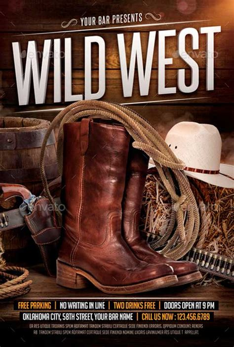 Best 20 Country And Western Style Flyer Templates West Poster Template