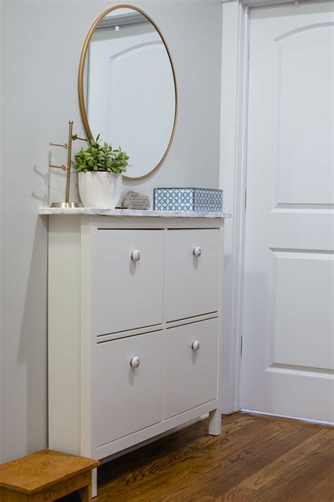a simple ikea hemnes shoe cabinet hack newlywoodwards mudroom makeover hemnes contact paper and marbles